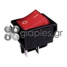 Διακόπτης ΟΝ-OFF με λυχνία 16Α/250V 4P (κόκκινο)
