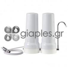 Φίλτρο Νερού Άνω Πάγκου Διπλό Λευκό (τύπου καμπάνα)